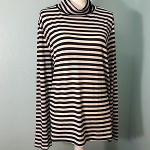 Everleigh Black/White Striped Turtleneck Sweater